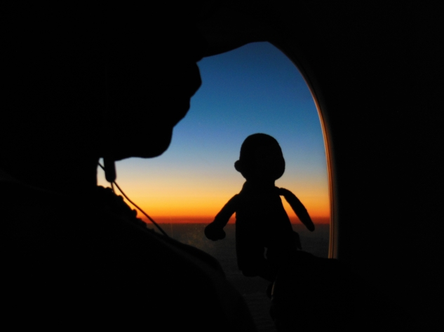 83 George and Marion watching the sunset from the plane